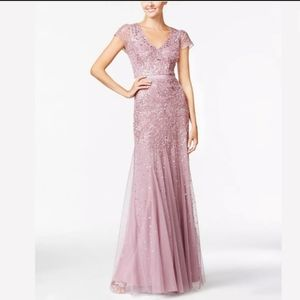 Adrianna Papell embellished cap sleeve gown
